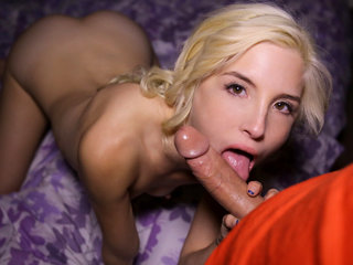 Piper blows big white dick